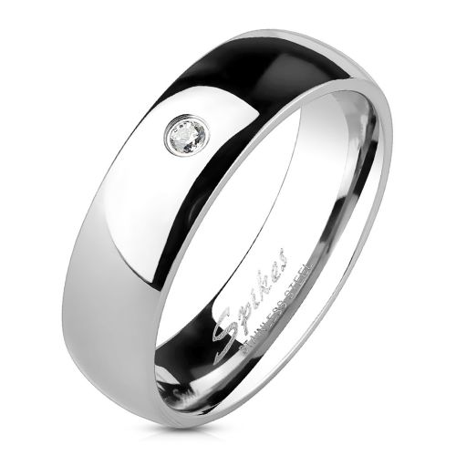 62 (19.7) Ring narrow with crystal silver made of stainless steel women