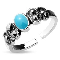 Toe ring turquoise stone silver brass ladies