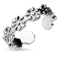 Toe ring flowers silver-colored brass ladies