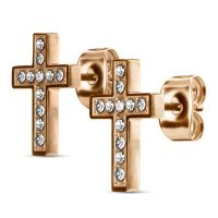 Stud earrings cross crystal-set silver made of stainless...