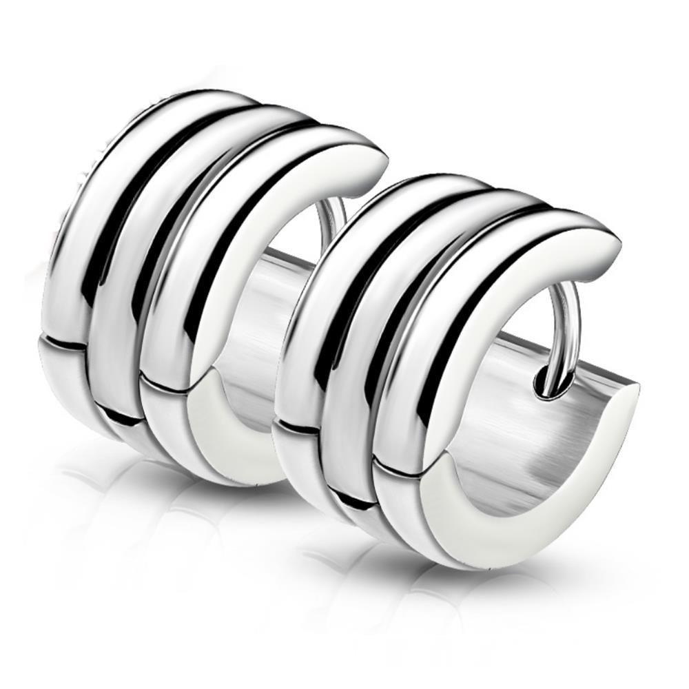 Creolen gestreift Silber aus Edelstahl Damen