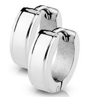 Creolen mit abgerundeten Kanten Silber aus Edelstahl Damen