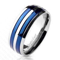 Ring Blau gestreift aus Titan Unisex