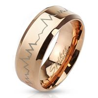 Ring heartbeat rose gold stainless steel unisex