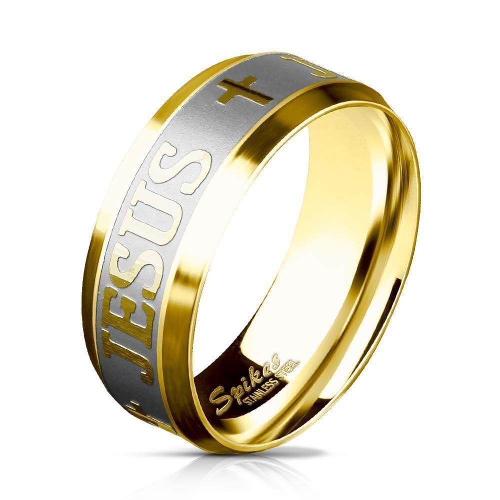 Ring Kreuz & Jesus Gold aus Edelstahl Unisex