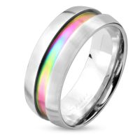 Ring with rainbow center ring colored stainless steel unisex