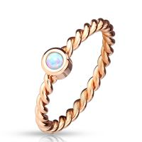 Ring opal rose gold made of stainless steel women