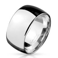 Wide silver ring made of stainless steel men