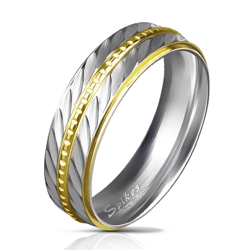 Ring Diagonalschliff Silber aus Edelstahl Unisex