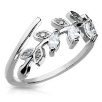 Silver - crystal leaves toe ring zirconia ~ SELECTABLE IN...