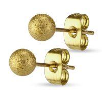 6mm - Gold - Ohrstecker sand-gestrahlt Silber aus...