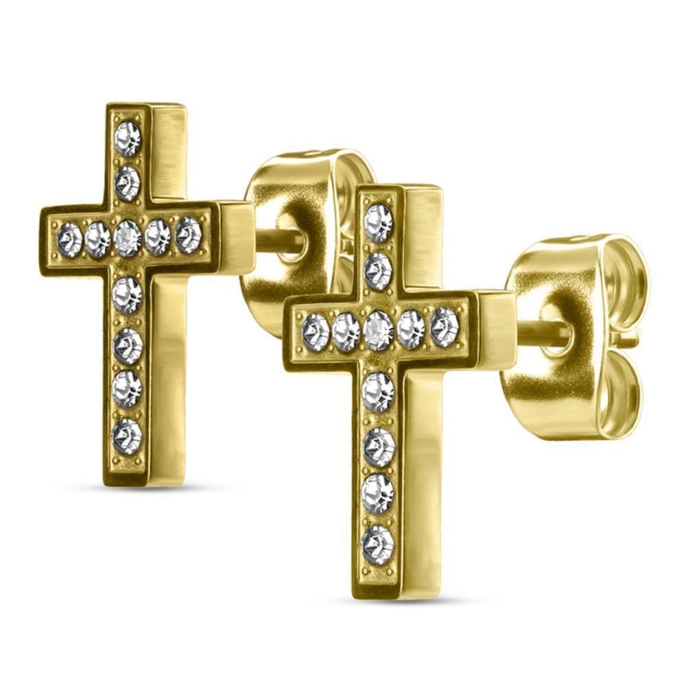 Gold - Ohrstecker Kreuz kristallbesetzt aus Edelstahl Damen