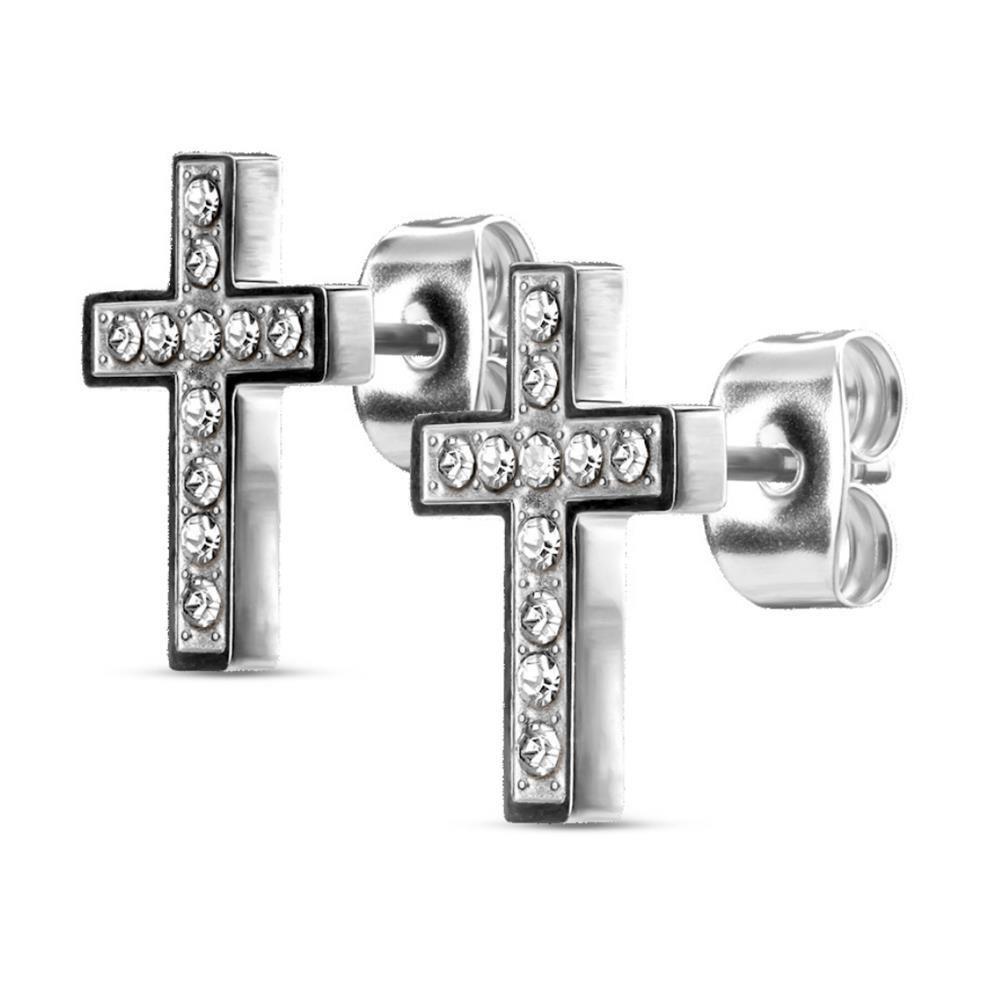 Silber - Ohrstecker Kreuz kristallbesetzt aus Edelstahl Damen