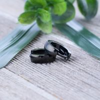 Black - hoop earrings 4mm made of stainless steel unisex