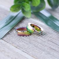 Rainbow hoop earrings 4mm made of stainless steel unisex