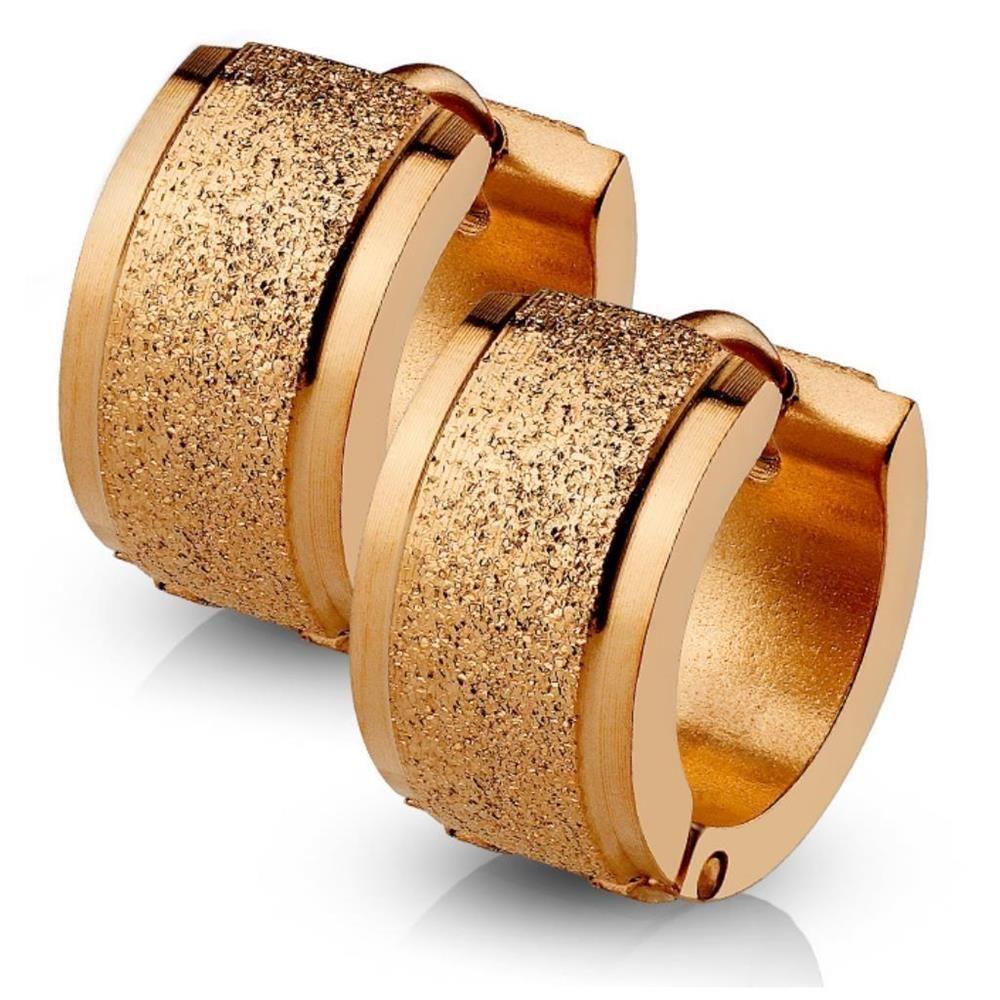 Rosegold - Creolen sand-gestrahlt 4mm aus Edelstahl Damen