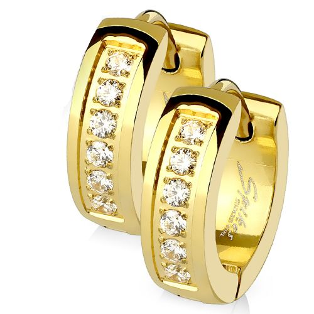 Creolen Kristall gold aus Edelstahl Damen