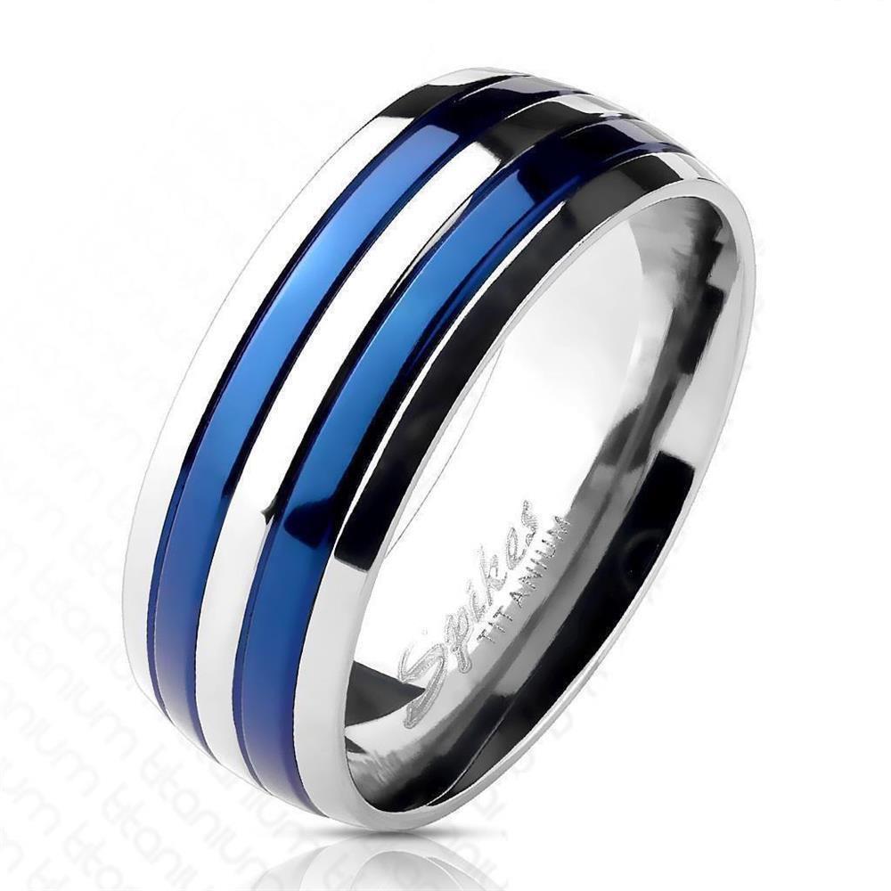 49 (15.6) - Ring Streifen Blau aus Titan Unisex