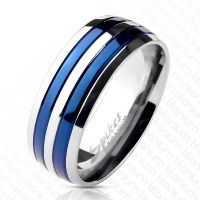 60 (19.1) - Ring Streifen Blau aus Titan Unisex