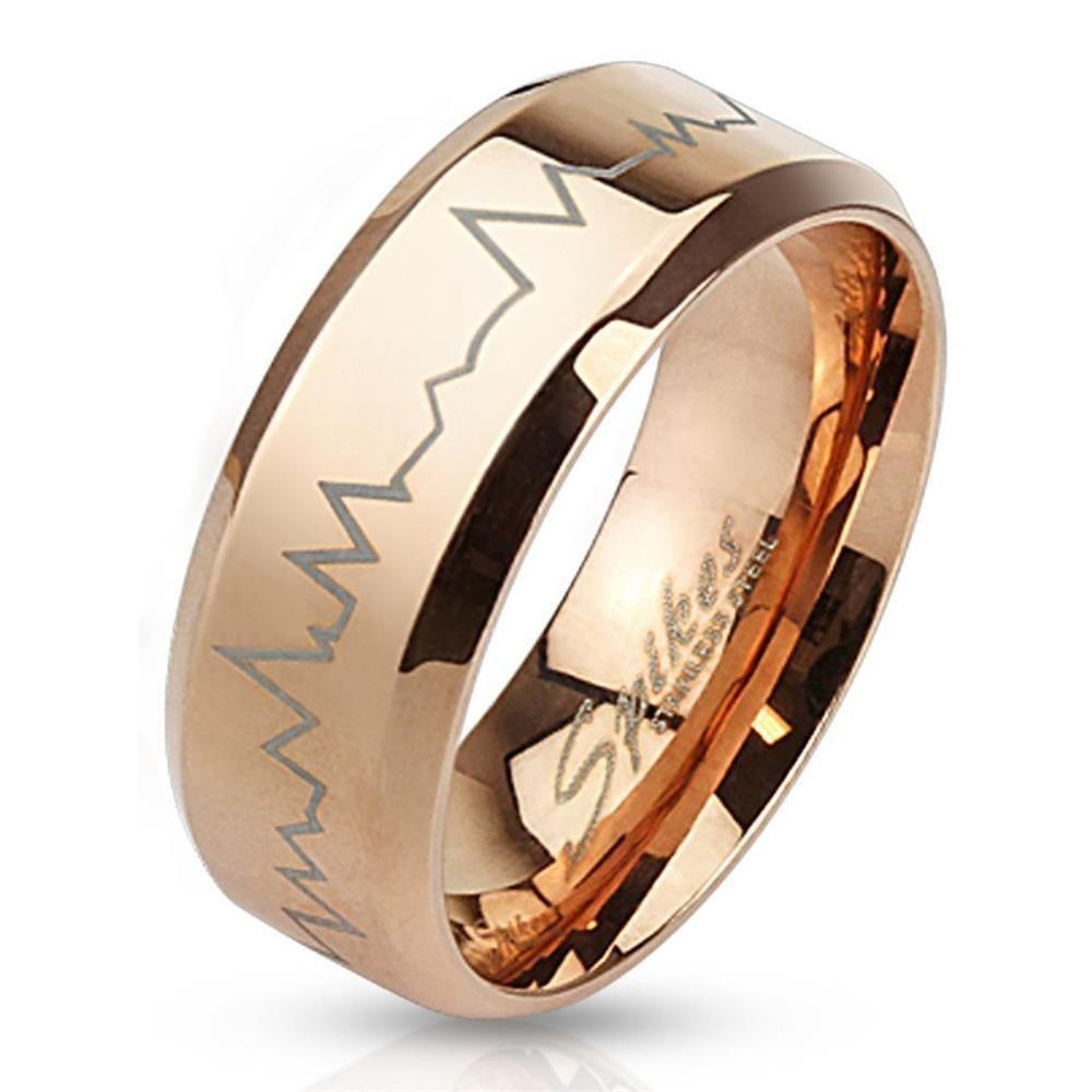 70 (22.3) - Ring Herzschlag Rosegold aus Edelstahl Unisex