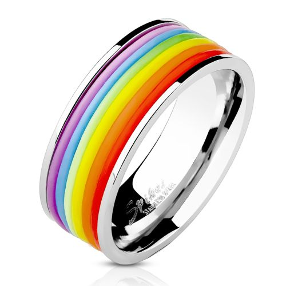 64 (20.4) - Ring Rainbow Bunt aus Edelstahl Unisex