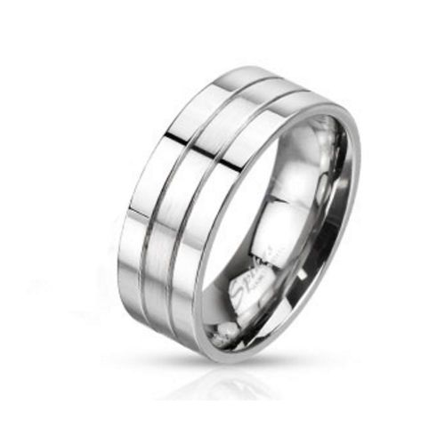 Three-row silver unisex stainless steel ring