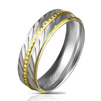 57 (18.1) stainless steel ring diagonal cut silver-gold...