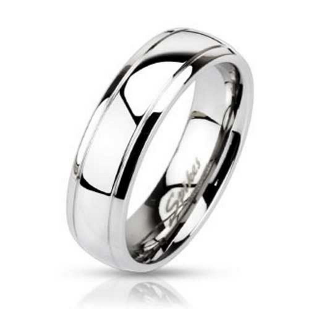 57 (18.1) Ring schmale Aussenringe Silber aus Edelstahl Unisex