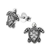 Ohrstecker Schildkröte mit 7 Kristallen aus 925 Silber