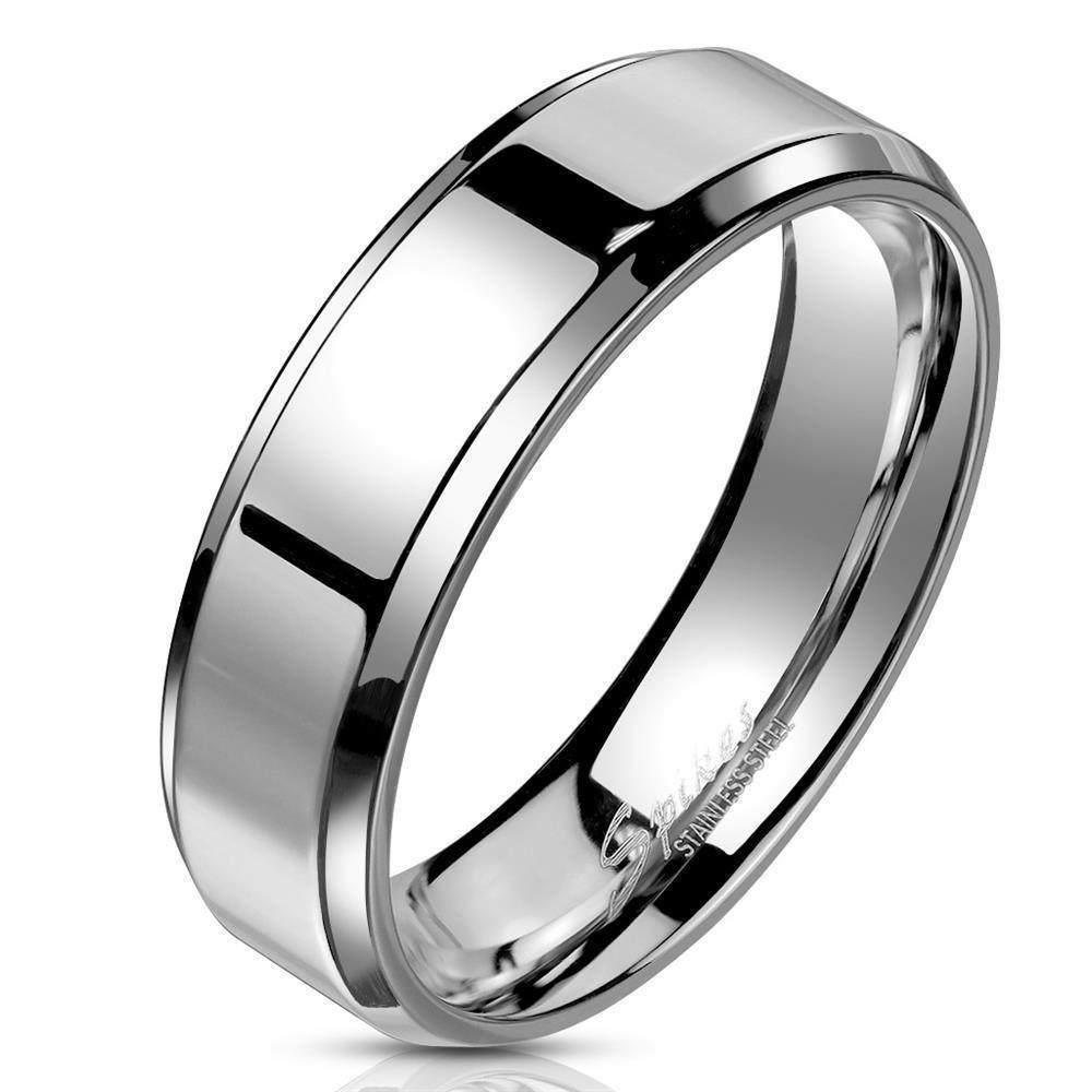 52 (16.6) Ring schräger Rand Silber aus Edelstahl Unisex