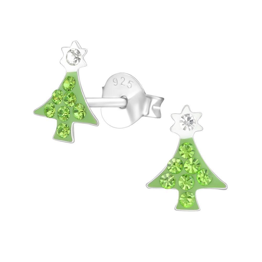 Ohrstecker Weihnachtsbaum mit Kristallen veredelt aus 925 Silber