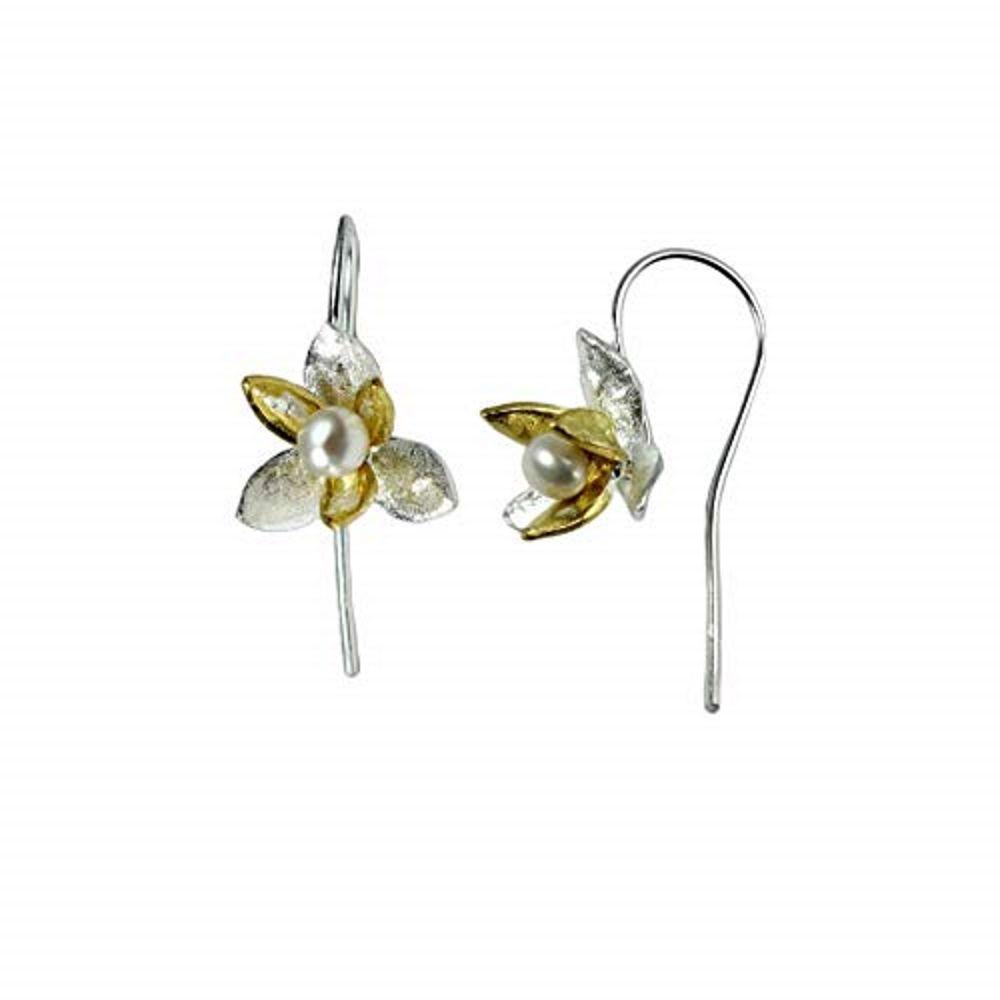 Ohrhänger Blüte und Perle zweifarbig aus .925 Silber Damen