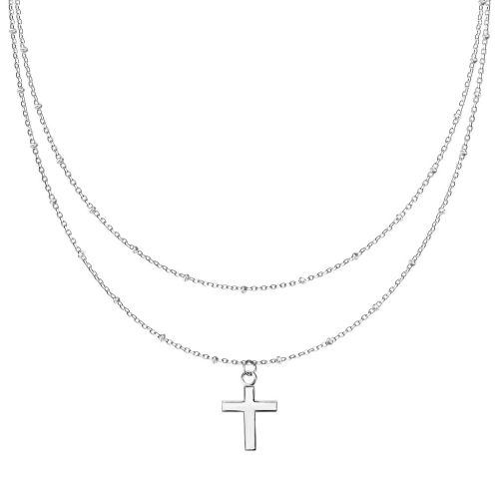 Kette Doppelkette Kreuz silber aus Edelstahl Damen