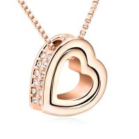 Chain heart open rose gold brass ladies