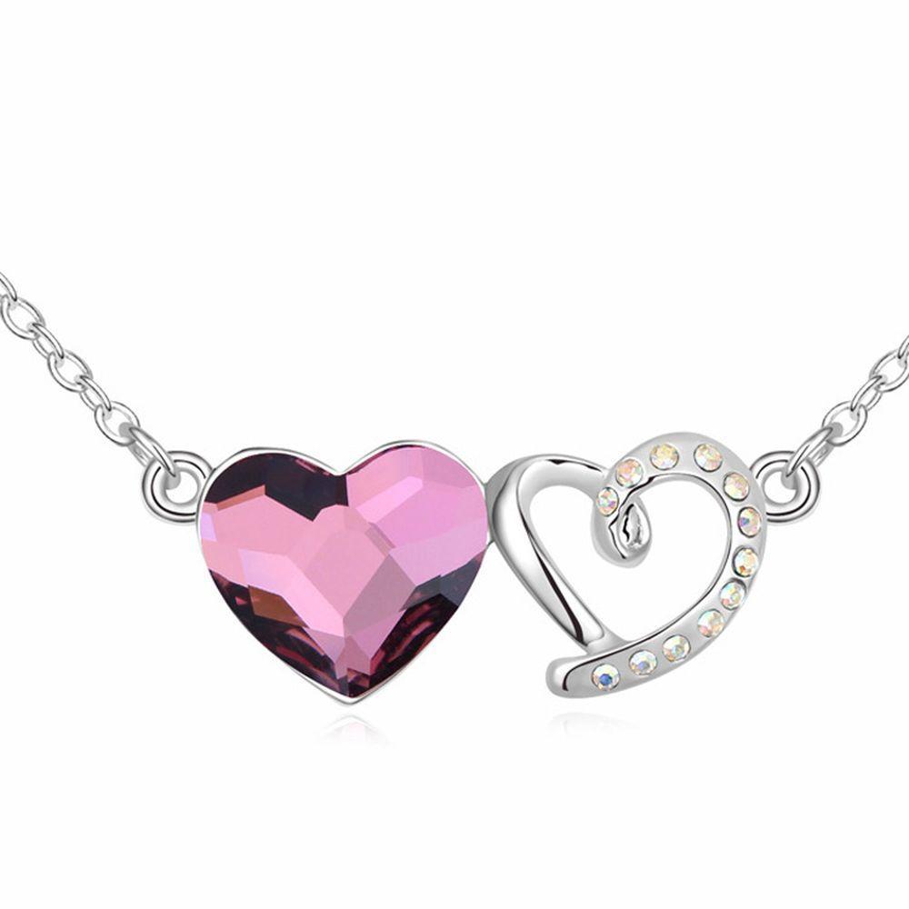 Kette Herz an Herz Silber aus Messing für Damen