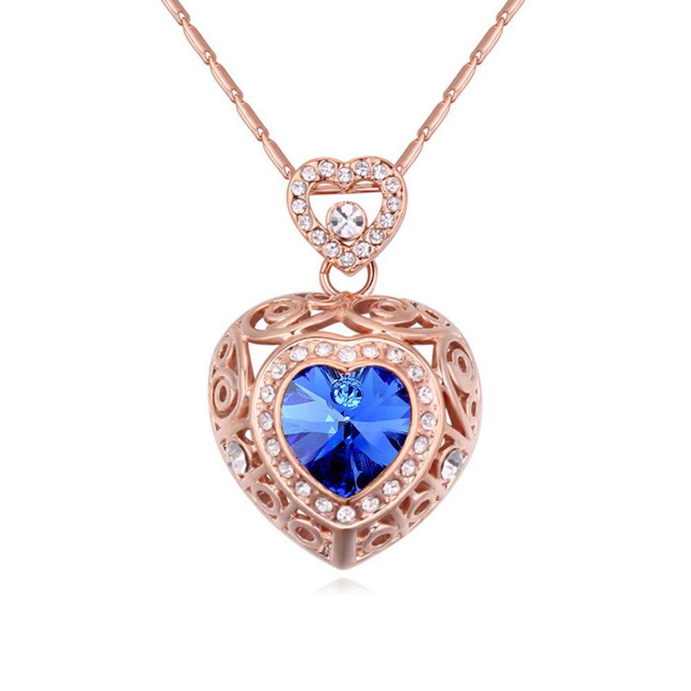 Kette Blue Heart Silber aus Messing für Damen