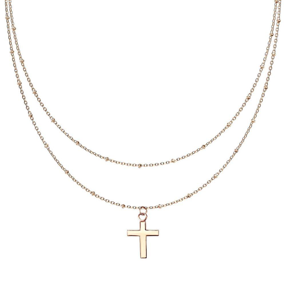 Kette Doppelkette Kreuz rosegold aus Edelstahl Damen
