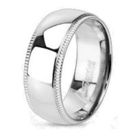 49 (15.6) Titanium ladies ring with 2 crystal outer rings highly polished silver (ring ladies finger ring partner rings engagement rings wedding rings ladies ring stainless steel ring surgical steel)