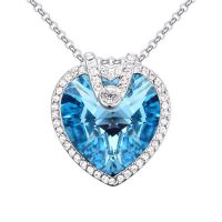 Chain heart crystal silver brass for women