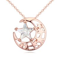 Necklace moon & stars rose gold brass ladies