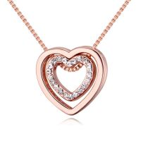 Kette Herz in Herz Rosegold Messing Damen