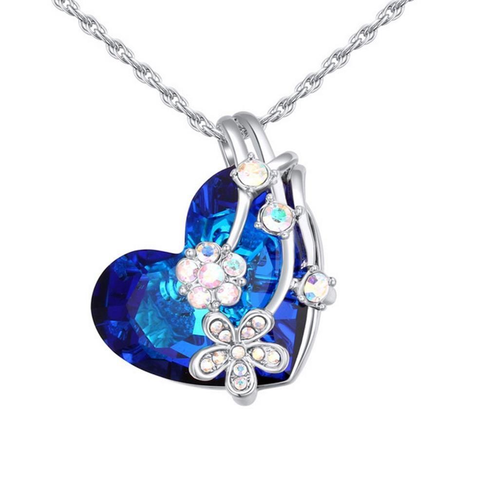 Kette Kristallherz Silber aus Messing für Damen