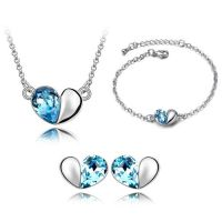 Schmuckset Blue Heart Silber Messing Damen