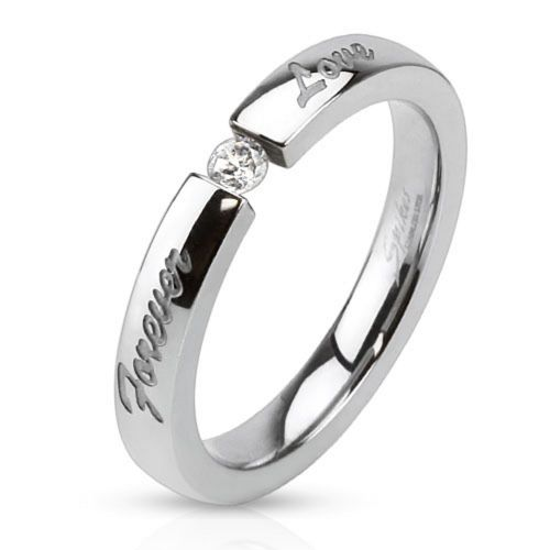 54 (17.2) Forever Love ring engraved stainless steel silver mirror polished ladies ring (ring women finger ring partner rings engagement rings wedding rings ladies ring stainless steel ring surgical steel)