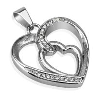 Pendant heart in heart silver made of stainless steel unisex