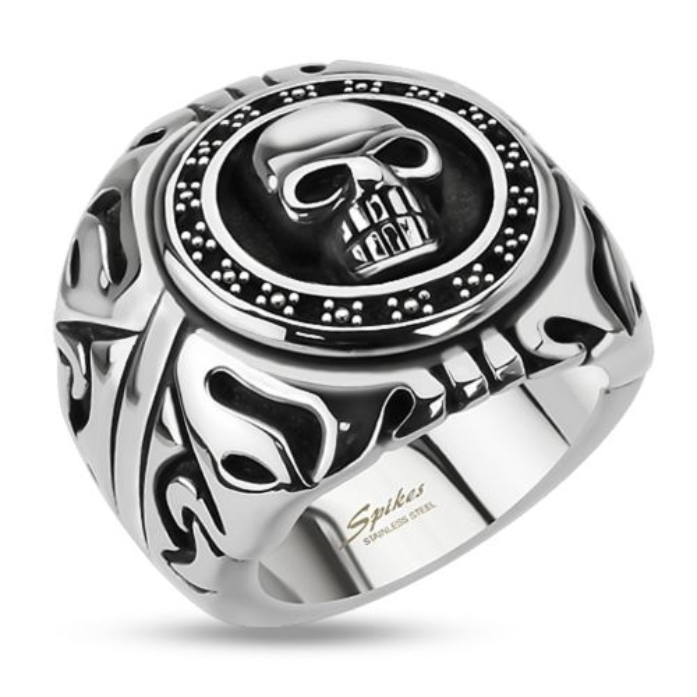 Ring Totenkopf Silber aus Edelstahl Herren