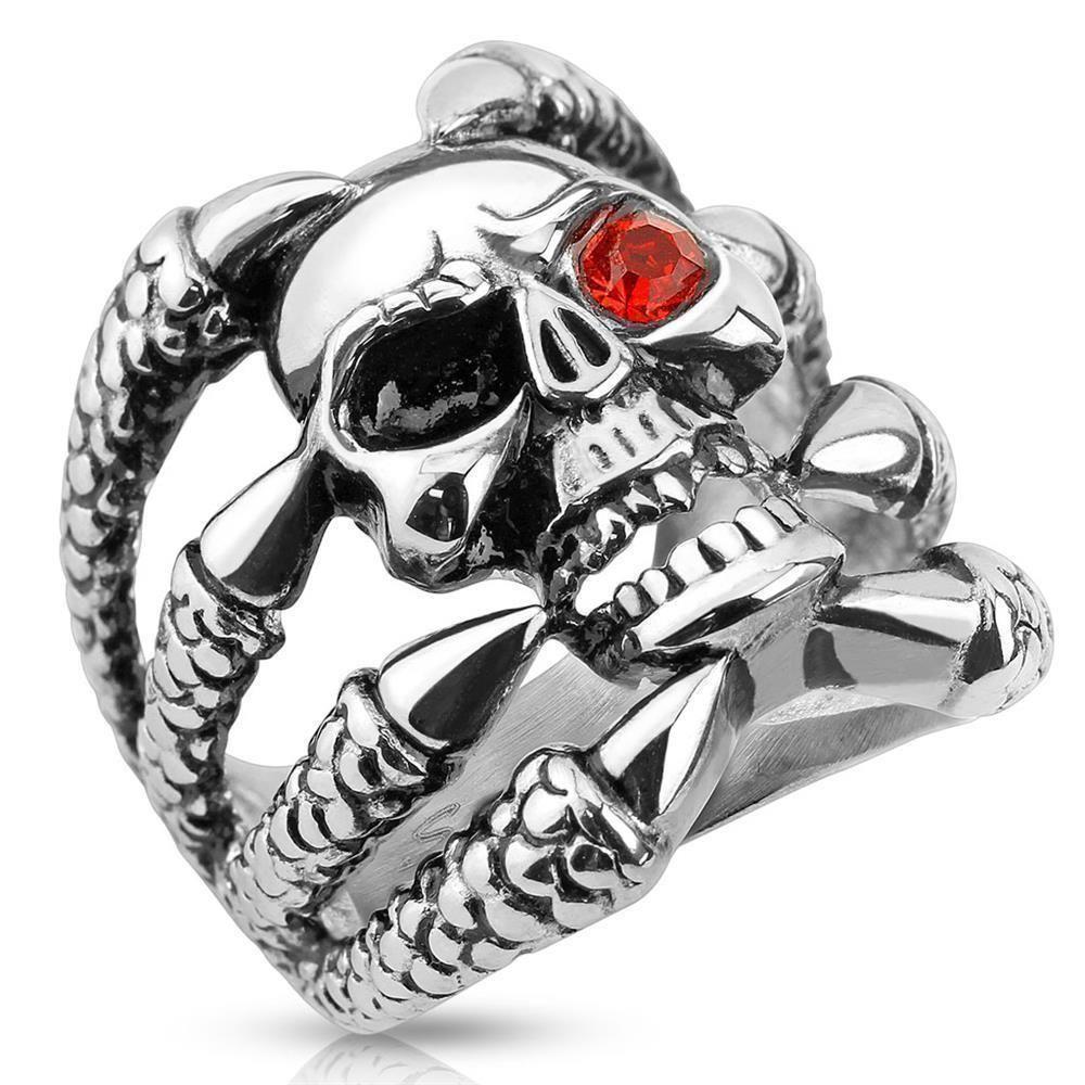 Ring Totenkopf mit Klauen Silber aus Edelstahl Herren