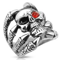 Ring skull with claws silver made of stainless steel men
