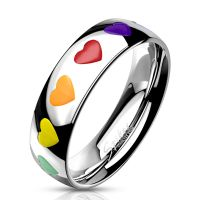 Ring with multicolored silver hearts made of stainless...