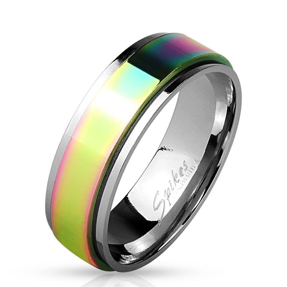 Ring Spinner Regenbogen Bunt aus Edelstahl Unisex